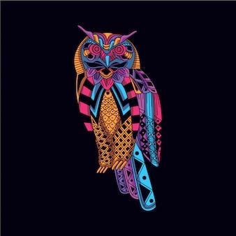 Coruja decorativa na cor neon de brilho