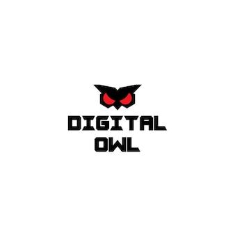 Coruja digital do conceito de logotipo moderno isolada no fundo branco