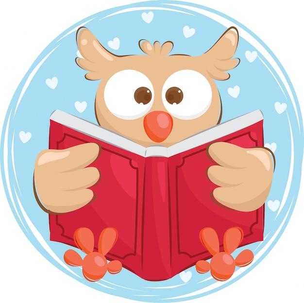 Coruja dilligent, lendo um livro