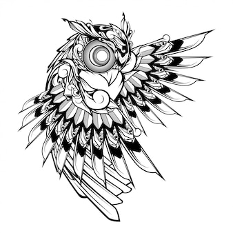 Coruja doodle ilustração de ornamento, tatuagem e design de tshirt