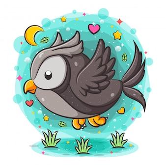Coruja dos desenhos animados, voando muito devagar