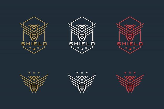 Coruja e escudo com linhas simples fortes