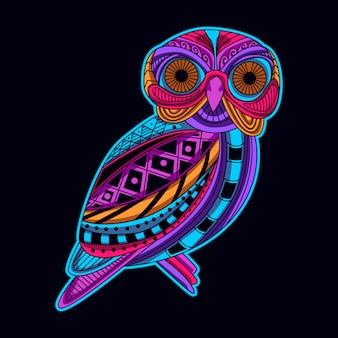 Coruja em cor neon