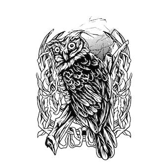 Coruja escuridão ilustração preto e branco