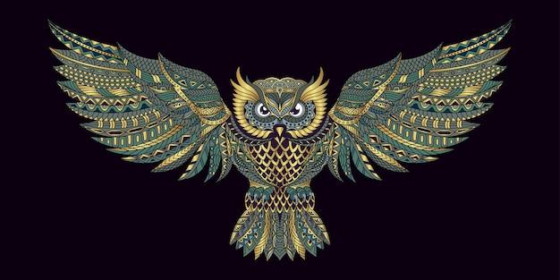 Coruja estilizada em ilustração de estilo étnico