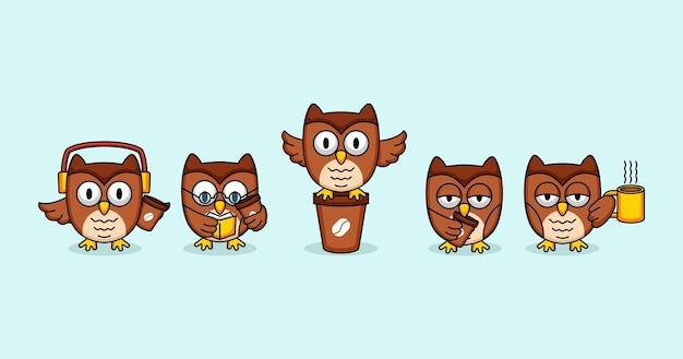 Coruja fofa com desenho de mascote de café