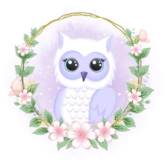 Coruja fofa com moldura de flor desenhada à mão animal ilustração