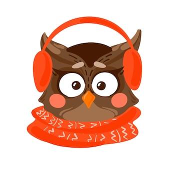 Coruja fofa com protetores de ouvido e casca vermelha. ilustração fofa de animais de natal.