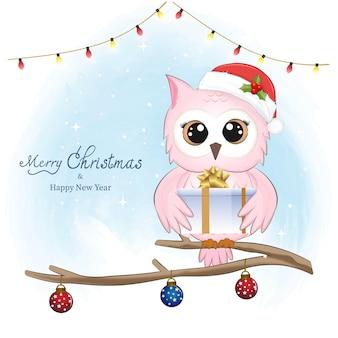 Coruja fofa e caixa de presente de inverno e ilustração de natal