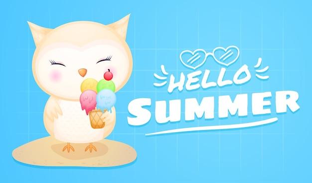Coruja fofa segurando sorvete com faixa de saudação de verão