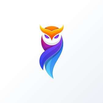 Coruja full color design conceito ilustração vector template