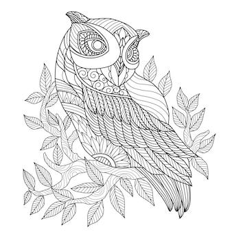 Coruja linda desenhada de mão