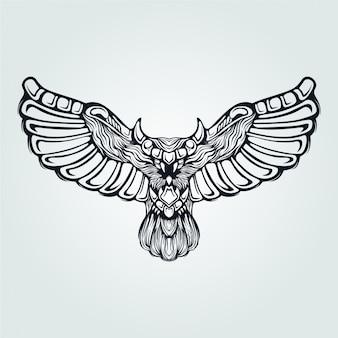 Coruja linha arte voar com asas decorativas