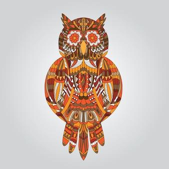Coruja marrom em estilo ornamental para mascote ou outro desenho - vetor