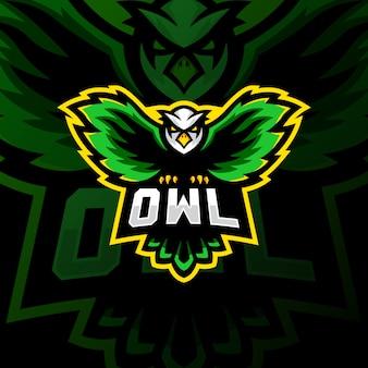 Coruja mascote logotipo esport jogos ilustração