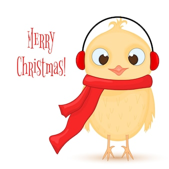 Coruja no cachecol e fones de ouvido quentes. postal de ano novo e natal. pássaro de objetos isolados no fundo branco. modelo de texto e parabéns.