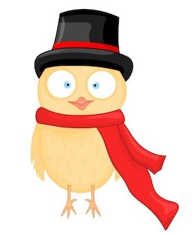Coruja no chapéu e lenço. postal de ano novo e natal. pássaro de objetos isolados no fundo branco. modelo de texto e parabéns.