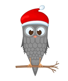 Coruja no galho com o chapéu de papai noel. postal de ano novo e natal. pássaro de objetos isolados no fundo branco. modelo de texto e parabéns.