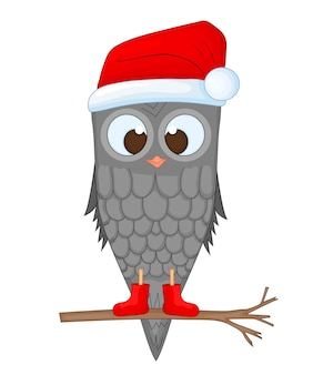 Coruja no galho com o chapéu e as botas de papai noel. postal de ano novo e natal. pássaro de objetos isolados no fundo branco. modelo de texto e parabéns.