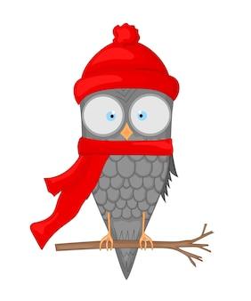 Coruja no galho com o chapéu e lenço de papai noel. postal de ano novo e natal. pássaro de objetos isolados no fundo branco. modelo de texto e parabéns.