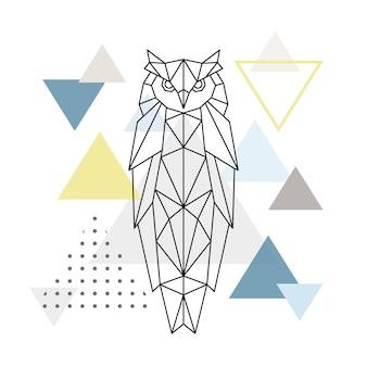 Coruja poligonal em fundo abstrato com triângulos