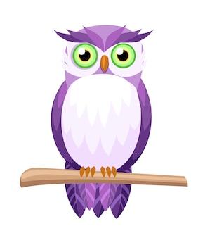 Coruja roxa bonita sentada no galho. coruja de olhos verdes. personagem de desenho animado . ilustração em fundo branco