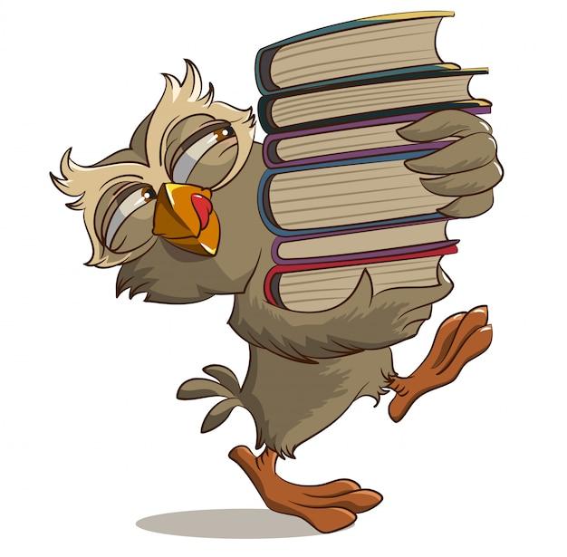 Coruja satisfeita carrega livros