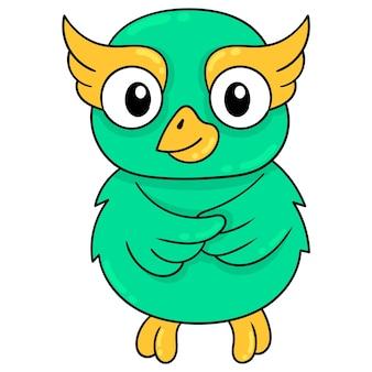 Coruja verde bonita sorrindo fofamente, arte de ilustração vetorial. imagem de ícone do doodle kawaii.
