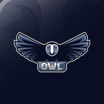 Coruja voadora mascote logotipo esport design
