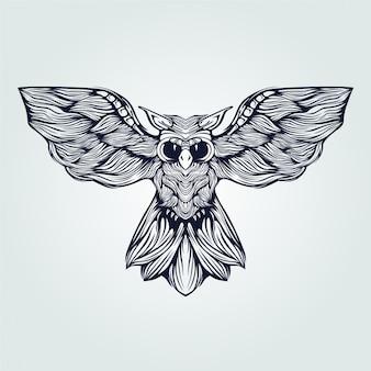 Coruja voando tatuagem de arte linha na cor azul escuro