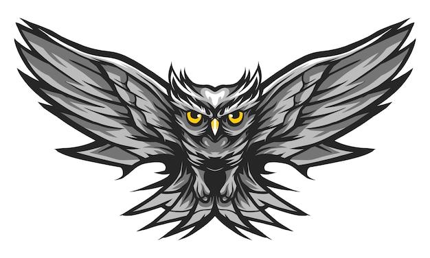 Coruja voar ilustração em vetor cor monocromática isolada no branco