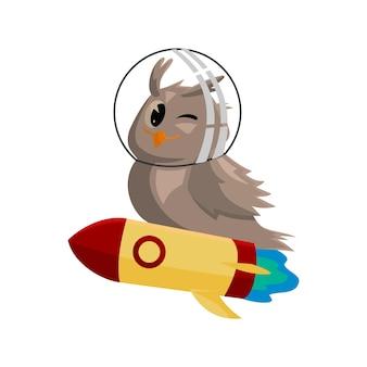 Corujas da escola. cor pássaros bonitos estudando astronomia na escola. personagens de vetor de desenhos animados de ensino