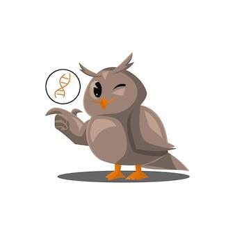Corujas da escola. cor pássaros bonitos estudando biologia na escola. personagens de vetor de desenhos animados de ensino