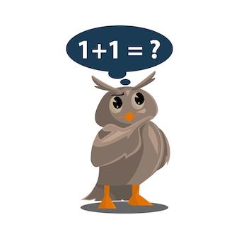 Corujas da escola. cor pássaros bonitos estudando matemática na escola. personagens de vetor de desenhos animados de ensino