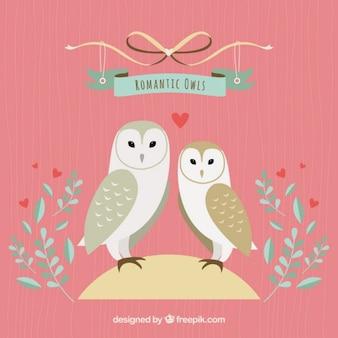Corujas ilustração romântica