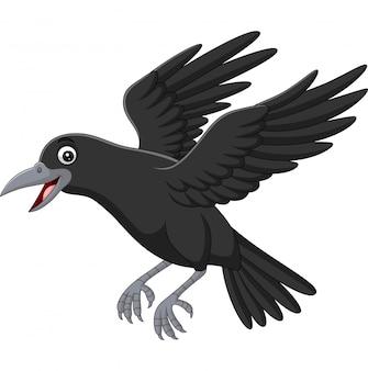 Corvo de desenhos animados voando isolado no branco
