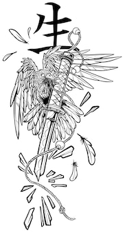 Corvo em desenho animado segurando uma espada katana quebrada