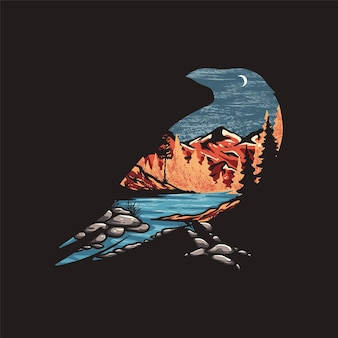 Corvo negro em pleno vetor selvagem