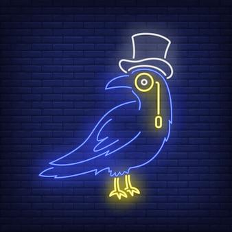 Corvo usando chapéu de coco e monóculo sinal de néon