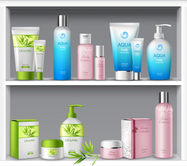 Cosmética feminina e produtos de tratamento de beleza de higiene