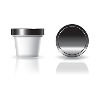 Cosmético branco em branco ou copo redondo de comida com tampa preta.