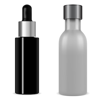 Cosmético conta-gotas de soro. frasco de vidro preto 3d