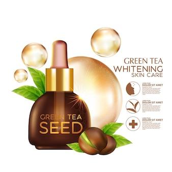Cosmético de ilustração realista com ingredientes cosmético para cuidados da pele com óleo de semente de chá verde