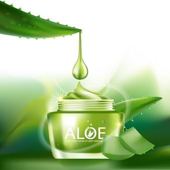 Cosmético de ilustração realista com ingredientes cosméticos de aloe vera para a pele