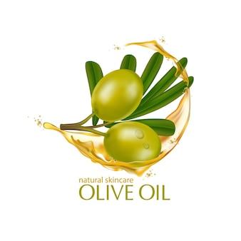 Cosmético de ilustração realista com ingredientes cosméticos para cuidados com a pele com azeite de oliva