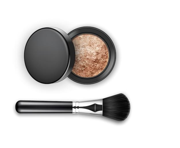 Cosmético de maquiagem para rosto quebrado e blush em caixa de plástico redonda preta