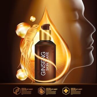 Cosmético natural para cuidados com a pele ginseng serum