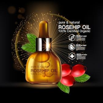 Cosmético natural para cuidados com a pele, óleo de rosa mosqueta