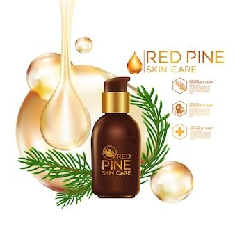 Cosmético para cuidados com a pele de pine serum