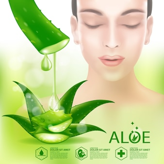 Cosmético para cuidados com a pele de plantas realistas de aloe vera